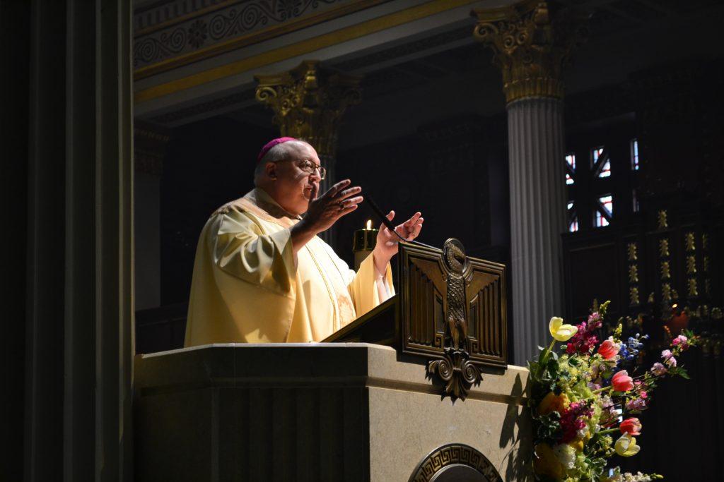 """""""Jesus Christ's death certificate is our birth certificate."""" Bishop Joseph Binzer (CT Photo/Greg Hartman)"""