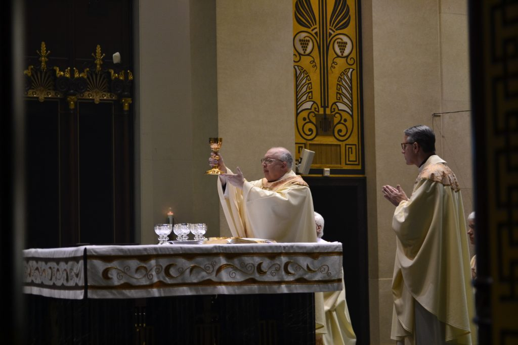Take this, all of you, and drink from it, for this is the Chalice of my Blood, the Blood of the New and Eternal Covenent, which will be poured out for you and for many for the forgiveness of sins. Do this in memory of Me. Eucharistic Prayer III (CT Photo/Greg Hartman)