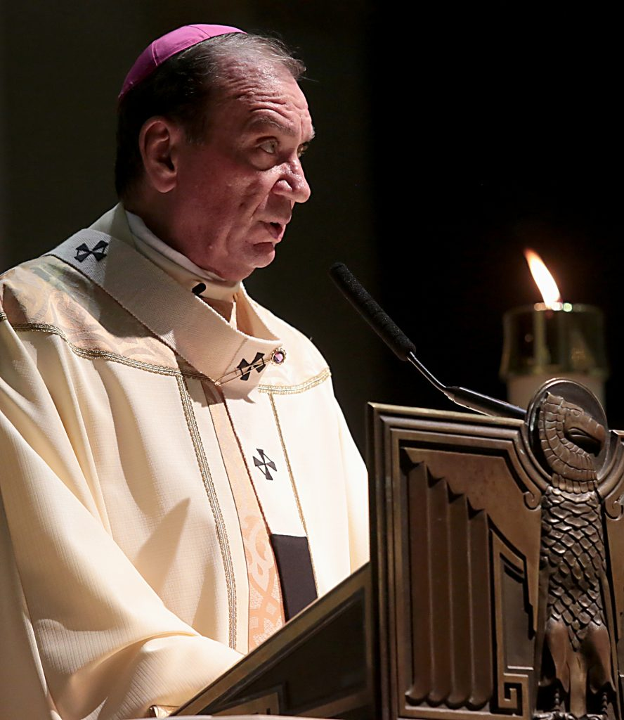 Archbishop Dennis Schnurr delivers his Homily for the Easter Vigil in the Holy Night at the Cathedral of Saint Peter in Chains in Cincinnati, Holy Saturday, March 31, 2018. (CT Photo/E.L. Hubbard)