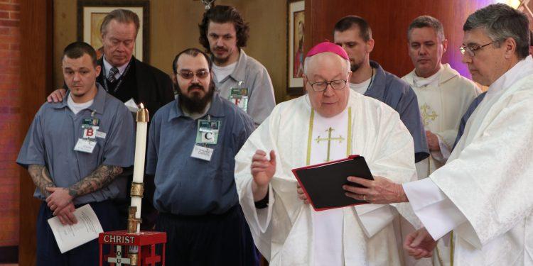 Bishop Binzer leads Easter Vigil where 7 Men entered the Catholic Church. (CT Photo/Greg Hartman)