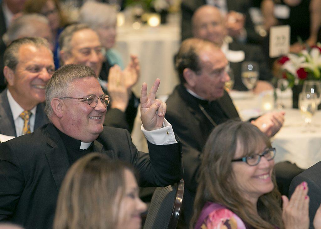 Rev. Benedict O'Cinnsealaigh at the Bishop Fenwick Society Dinner (CT Photo/E L Hubbard)