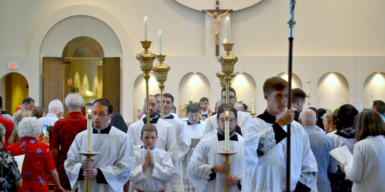 The Recessional at the First Mass of Thanksgiving for Rev. Jacob Willig (CT Photo/Greg Hartman)