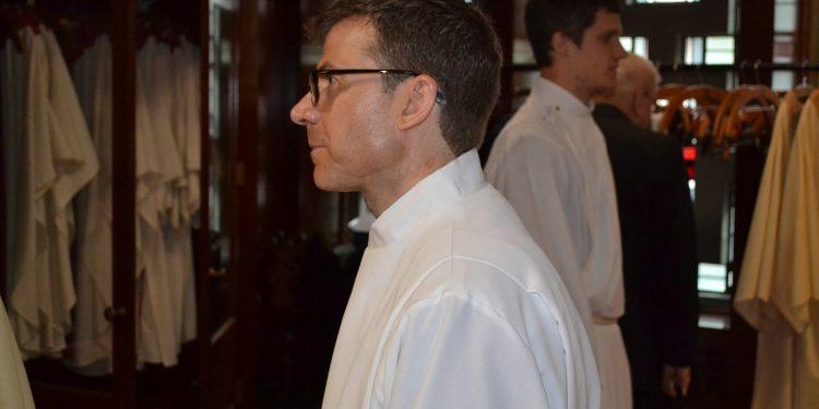 Deacon Craig Best awaiting the beginning of Ordination. (CT Photo/Greg Hartman)
