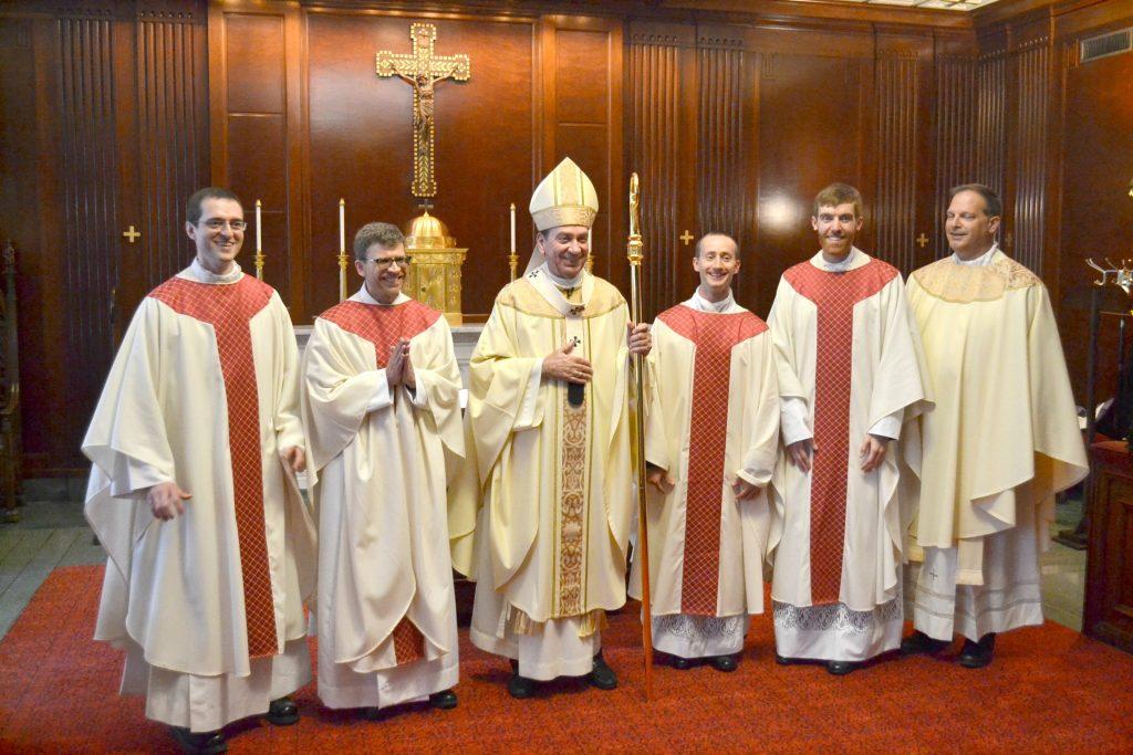 (From Left to Right) Rev. Andrew Smith, Rev. Craig Best, Archbishop Dennis Schnurr, Rev. Jarred Kohn, Rev. Jacob Willig, Rev. Anthony Brausch (CT Photo/Greg Hartman)