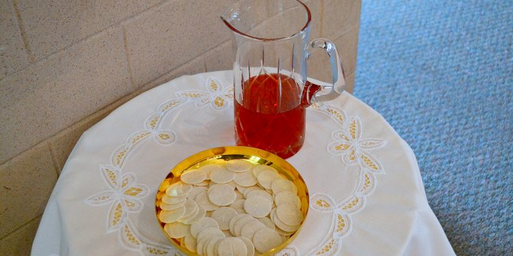 The gifts of bread and wine at St. Margaret St. John Parish (CT Photo/Greg Hartman)