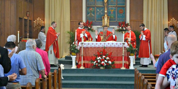 Rev. Craig Best during First Mass of Thanksgiving at St. Margaret St. John Parish (CT Photo/Greg Hartman)