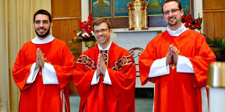 (From left to right) Rev. Mr. Robert Barnell, Rev. Craig Best, Rev. Mr. Kyle Gase. (CT Photo/Greg Hartman)