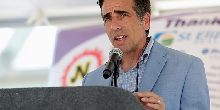 Bobby Schindler, from the Terri Schiavo Life and Hope Network, speaks during the Cross the Bridge for Life celebration on Riverboat Row in Newport, Sunday, June 3, 2018. (CT Photo/E.L. Hubbard)