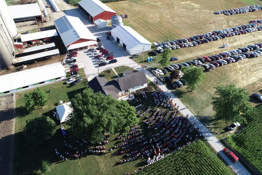 The view overhead of Doug & Sarah Franck's Farm in Saint Henry Ohio. Wonderful views of our farms in the Archdiocese of Cincinnati. (Photo by Tom Kueterman)