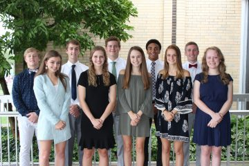 Members of the 2018 Badin High School Homecoming Court include, front row from left, queen candidates Grace Connaughton, Emily Maher, Grace Wilson, Josie Miller and Hannah Nugent. Back Row:: king candidates Kevin Hock, Luke VanSteenkiste, Eddie Kammerer, Davon Starks and Peter Clemmons (Courtesy Photo)