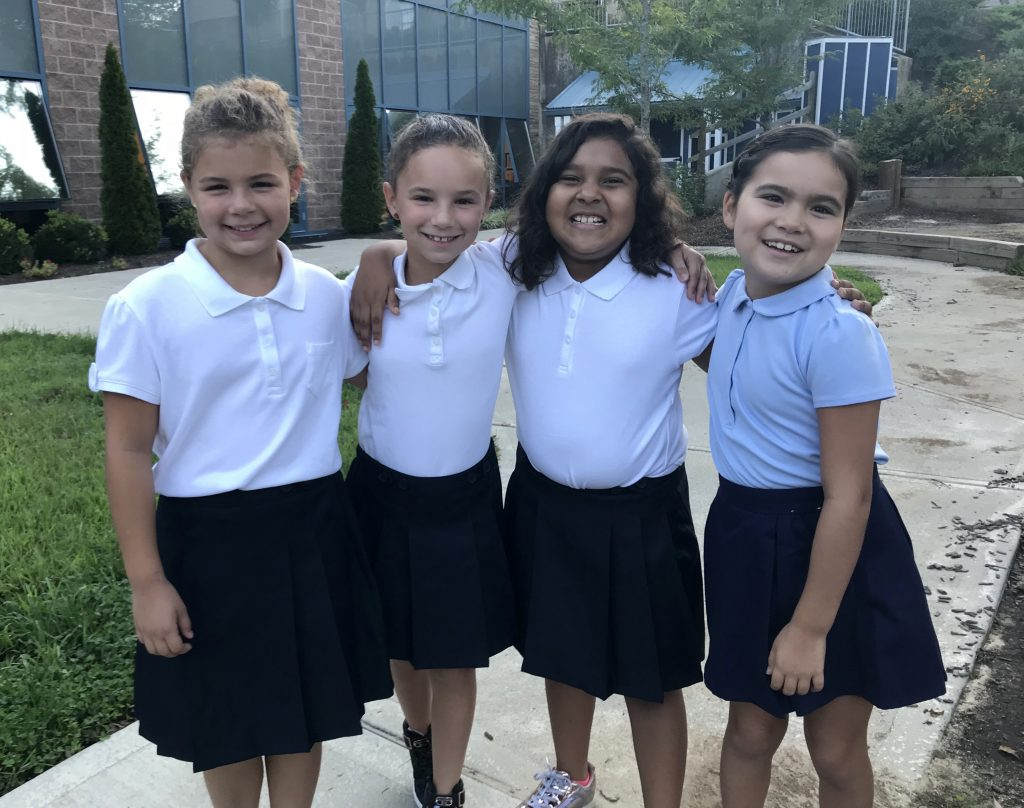 Good Shepherd Catholic Montessori students smile for the camera on the first day of school 2018. (Courtesy Photo)