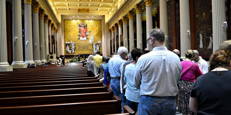 The lines were long throughout the day to venerate the relics of St. Padre Pio (CT Photo/Greg Hartman)