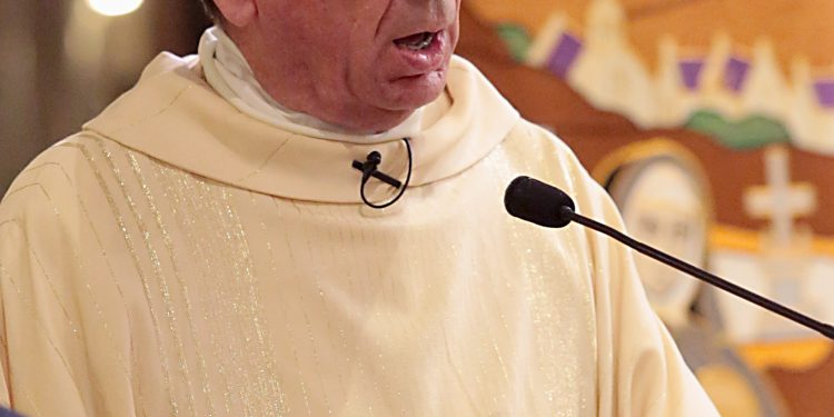 Archbishop Dennis Schnurr delivers his Homily for the Mass of Thanksgiving for the 150th Anniversary of the Arrival of the Little Sisters of the Poor in Cincinnati at St. Monica-St. George Parish in Cincinnati Saturday, Oct. 20, 2018. (CT Photo/E.L. Hubbard)