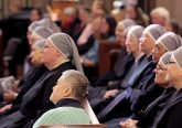 Little Sisters of the Poor listen to Archbishop Dennis Schnurr's Homily for the Mass of Thanksgiving for the 150th Anniversary of the Arrival of the Little Sisters of the Poor in Cincinnati at St. Monica-St. George Parish in Cincinnati Saturday, Oct. 20, 2018. (CT Photo/E.L. Hubbard)
