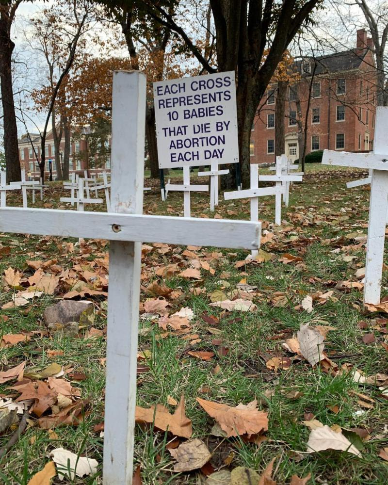 Cemetery of the Innocents display set up by Miami University Students for Life America on Monday, November 12, 2018. (Courtesy Photo)