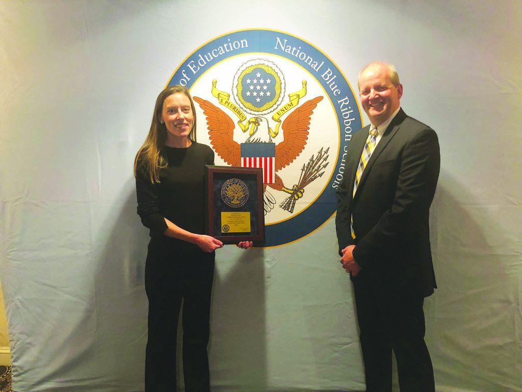 MTCES Junior High Teacher Amanda Ocartz and and Chariman Brian James represented the school at the Blue Ribbon Ceremony in Washington D. C. (CT Photo by David Moodie)