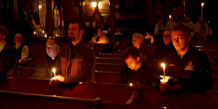 But if we walk in the light as he is in the light, then we have fellowship with one another, and the blood of his Son Jesus cleanses us from all sin. 1 John 1:7 Rorate Mass Old St Mary (CT Photo/Greg Hartman)
