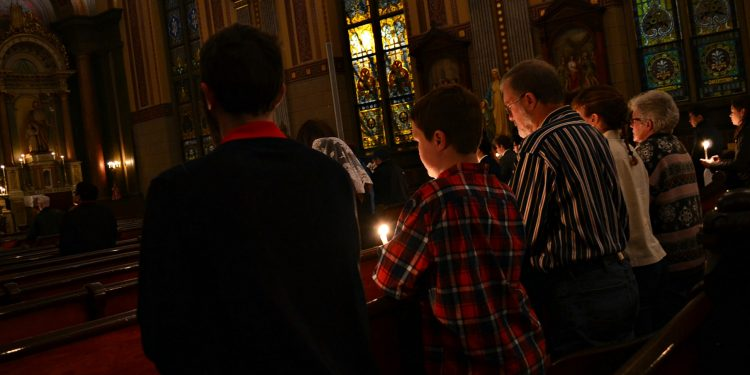 For you were once darkness, but now you are light in the Lord. Live as children of light, Eph 5:8 Rorate Mass Old St Mary (CT Photo/Greg Hartman)