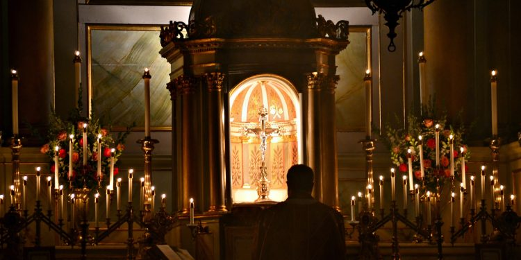 Now this is the message that we have heard from him and proclaim to you: God is light, and in him there is no darkness at all. 1 John 1:5 Old St Mary Rorate Mass (CT Photo/Greg Hartman)