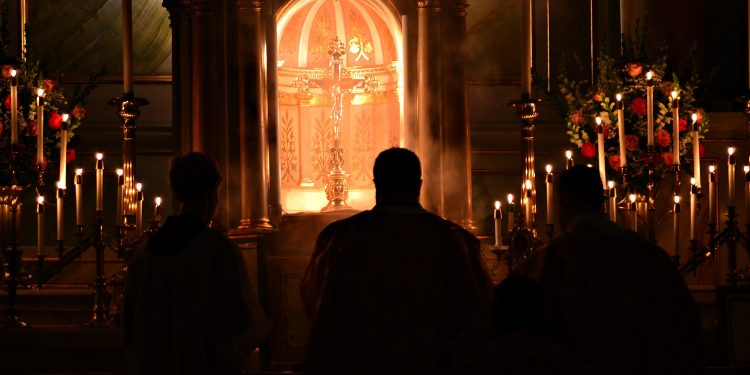 Take no part in the fruitless works of darkness; rather expose them. Eph 5:11 Rorate Mass Old St Mary's (CT Photo/Greg Hartman)