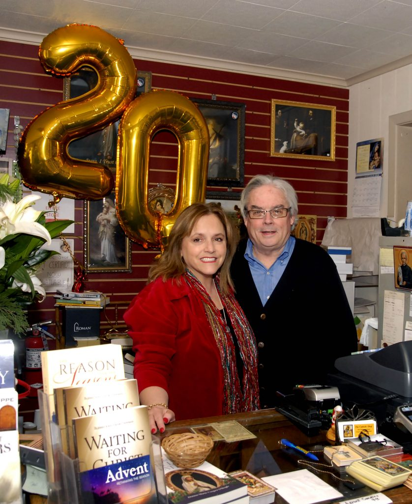 Jenn and Dan Giroux(cq) are celebrating 20 years as the owners and proprietors of The Catholic Shop in Madeira. The store offers a wide range of religious articles including books, music, and gifts for all ages. CT Photo/David A Moodie)