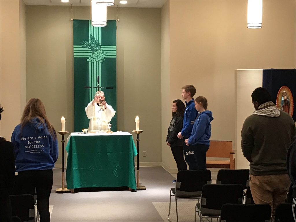 Mass before departure for the March for Life in Dayton (CT Photo/Jeff Unroe)