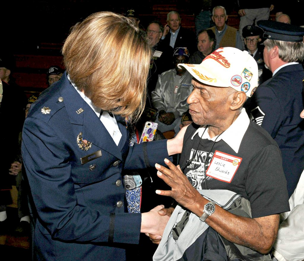 United States Air Force Lt. Col. Angela F. Ochoa(cq) meets with Tuskegee Airman Leslie Edwards(cq) following La Salle High School's 5th Annual Veteran Appreciation Day on Tuesday, Feb. 12. Ochoa(cq), a St. Ursula Academy graduate, gave the key note address for the event. (CT Photo/David Moodie)