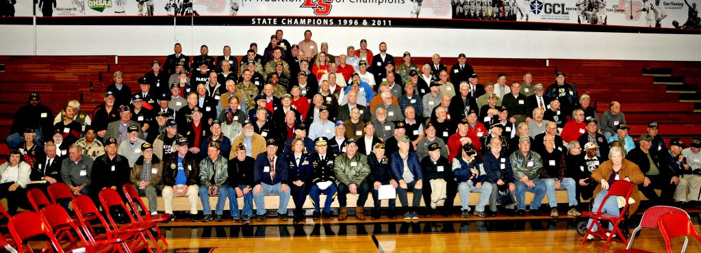 """Veterans from the greater Cincinnati area gather for a group photograph following La Salle High School's 5th Annual Veteran Appreciation Day on Tuesday, Feb. 12. The annual event featured a """"Missing Man"""" ceremony, a talk on women in the military by St. Ursula graduate Lt. Col. Angela F. Ochoa (cq), music, the recognition of all veterans and a luncheon for the veterans. (CT Photo/David Moodie)"""