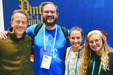 Archdiocese of Cincinnati representatives at the SEEK event for campus ministries at Indianapolis recently included Matt Fradd, Luke Carey, Sarah Rogers and Sarah Rose Bort. (Courtesy Photo)
