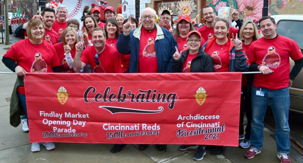 Bishop Binzer and members of the Central Offices of the Archdiocese of Cincinnati ready for the 2019 Findlay Market Opening Day Parade. (CT Photo/Greg Hartman)