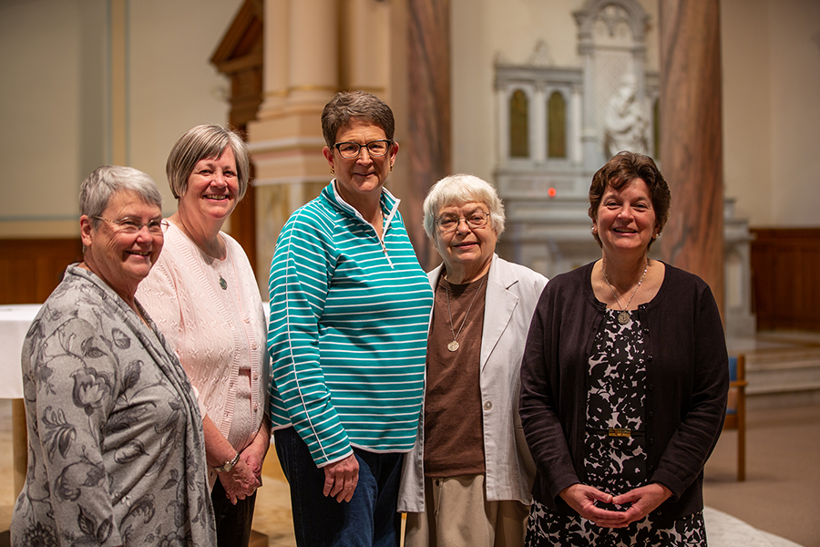 Members of the newly elected Leadership Council of the Sisters of Charity of Cincinnati are: (from left) Sister Patricia Hayden, president; Sister Marge Kloos, councilor; Sister Joanne Burrows, councilor; Sister Teresa Dutcher; and Sister Monica Gundler. (Courtesy Photo)