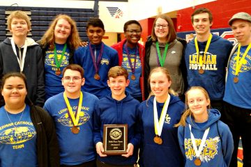 Lehman Catholic Science Olympiad Team members who participated in the Regional Science Olympiad. Back Row: Casey Topp, Mary Deafenbaugh, Joshua George, Rebecca Sanogo, Ann Deafenbaugh, Nicholas Largent and Aaron Topp. Front Row: Lexy Casillas, Joe Ritze, Max Schmiesing, Angela Brunner and Emily Bornhorst. Not Pictured: Elias Bezy, Jacquie Schemmel and Michael O'Leary.