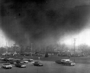 A massive F5 tornado bears down on Xenia. Photo taken from the Greene Memorial Hospital by Fred Stewart. (Courtesy NWS)