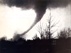 A view of the Sayler Park tornado as it moved through the Bridgetown area. Photo taken by Frank Altenau. (Courtesy NWS)