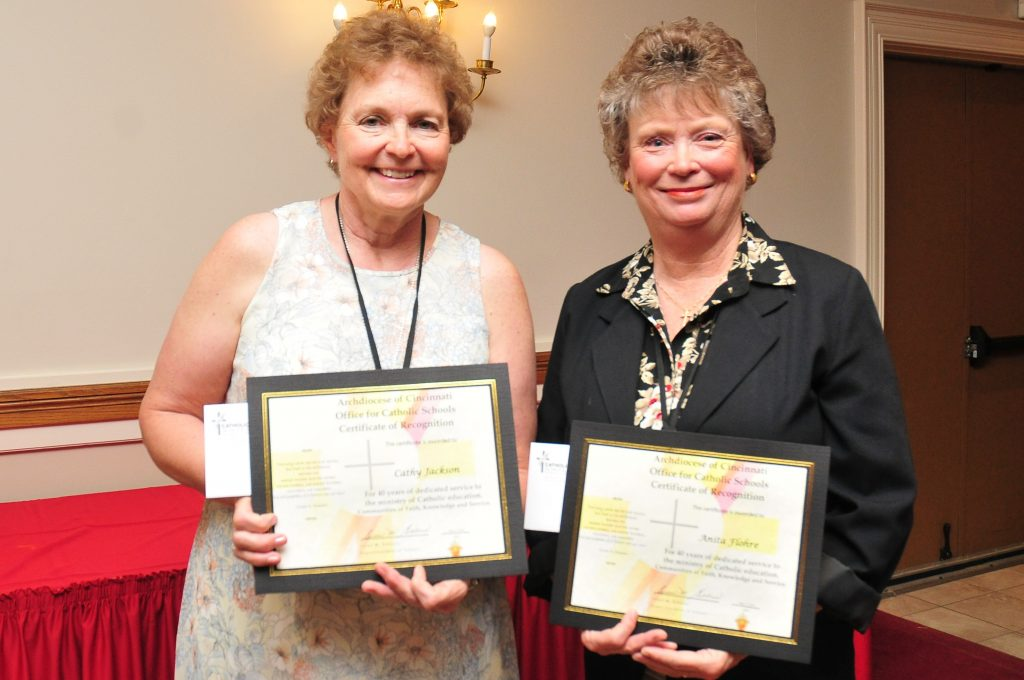 40 years of service recipients Anita Flohre, Catholic Central School and Cathy Jackson, Carroll HS recieved their 40 year certificate. (CT Photo/Jeff Unroe)