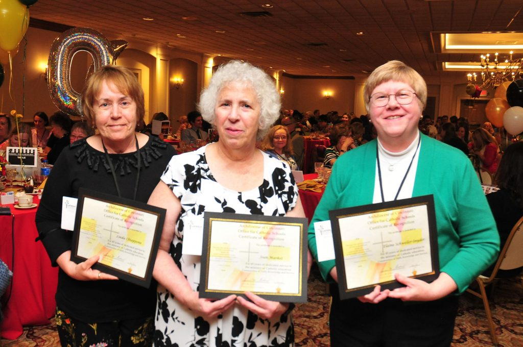 Linda Chiappone, St. Christopher school, Joan Market, Holy Angels, and Elaine Schweller-Synder, St. Patrick Elementary School (CT Photo/Jeff Unroe)