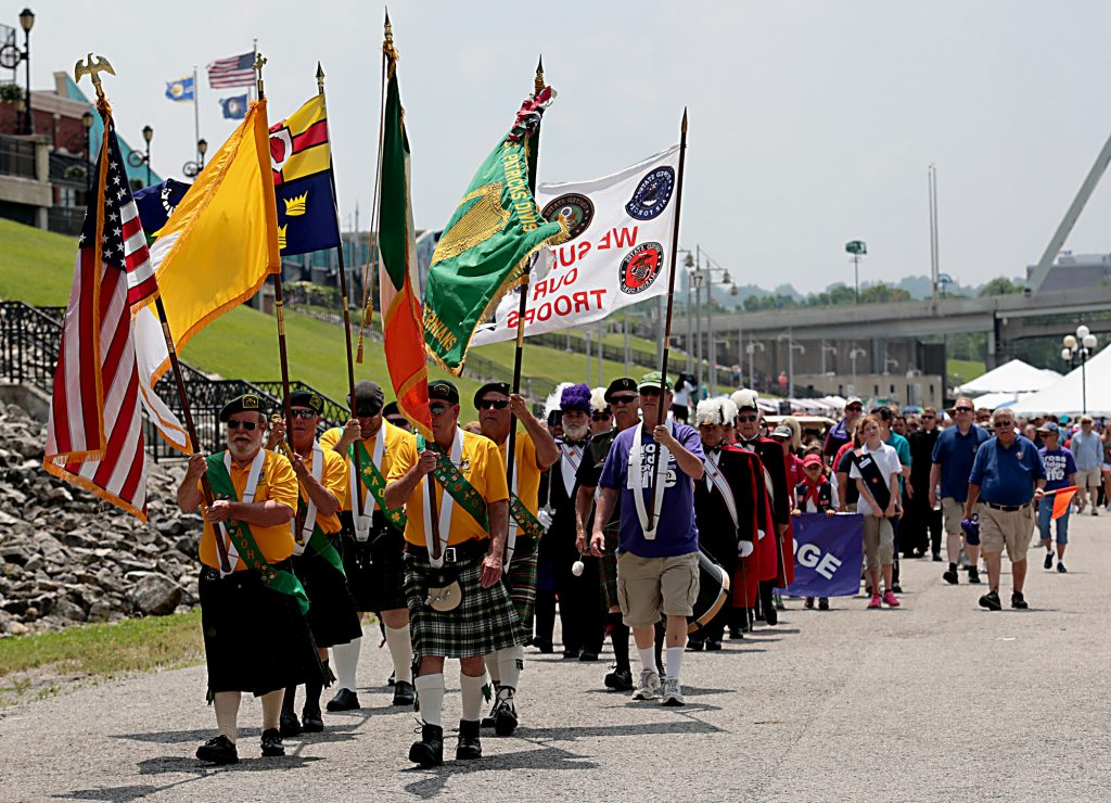 The Ancient Order of Hibernians lead the walk during the Cross the Bridge for Life in Newport, Ky. Sunday, June 2, 2019. (CT Photo/E.L. Hubbard)