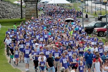 A sea of blue fills the levee during the Cross the Bridge for Life in Newport, Ky. Sunday, June 2, 2019. (CT Photo/E.L. Hubbard)