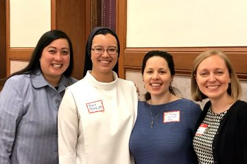 Panel members pose for a picture. From left are Sister of St. Joseph Truy Tran, Dominican Sister Mary Therese Perez, Sister of Mercy Amanda Carrier, and Sister of Charity Tracy Kemme. (Courtesy photo).