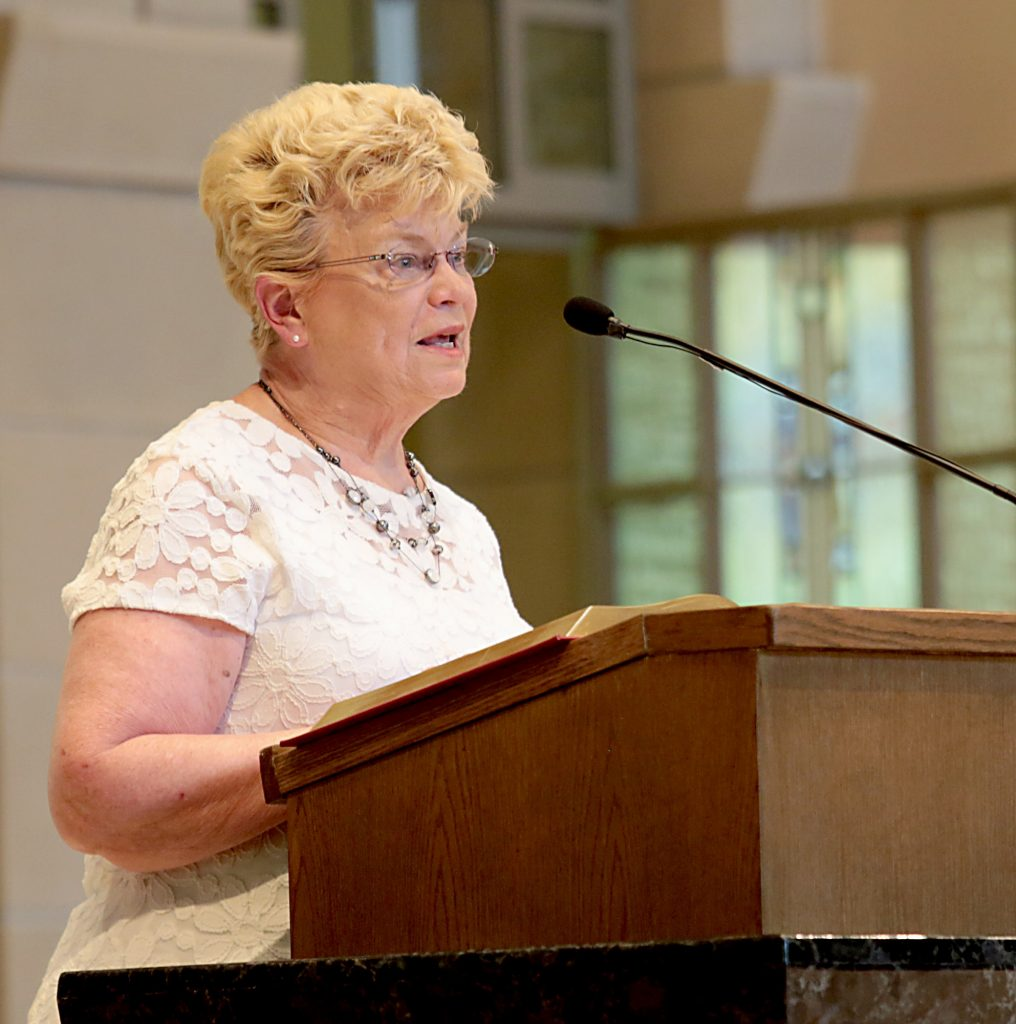Marianne Lienesch gives the First Reading during the dedication of St. John the Baptist Church in Harrison Saturday, June 1, 2019. (CT Photo/E.L. Hubbard)