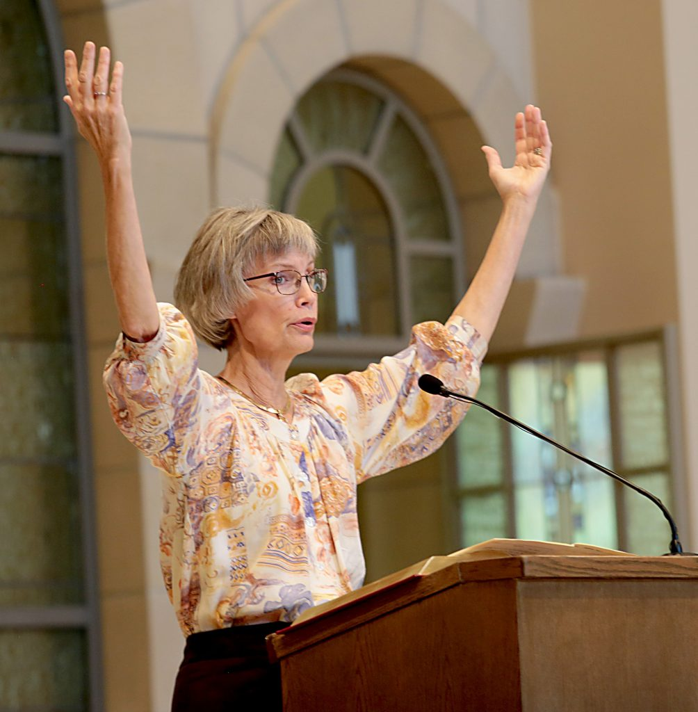 Nancy Gruber leads the congregation in the responsorial psalm during the dedication of St. John the Baptist Church in Harrison Saturday, June 1, 2019. (CT Photo/E.L. Hubbard)