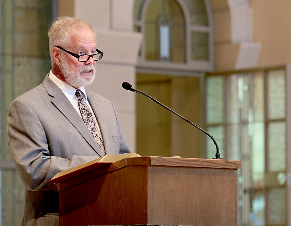 Donald Kuntz gives the Second Reading during the dedication of St. John the Baptist Church in Harrison Saturday, June 1, 2019. (CT Photo/E.L. Hubbard)