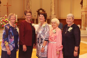 The newly elected Leadership Council of the Sisters of Charity of Cincinnati includes (from left) Sister Marge Kloos, SC, councilor; Sister Joanne Burrows, SC, councilor; Sister Monica Gundler, SC, councilor; Sister Teresa Dutcher, SC, councilor; and Sister Patricia Hayden, SC, president. (Courtesy Photo)