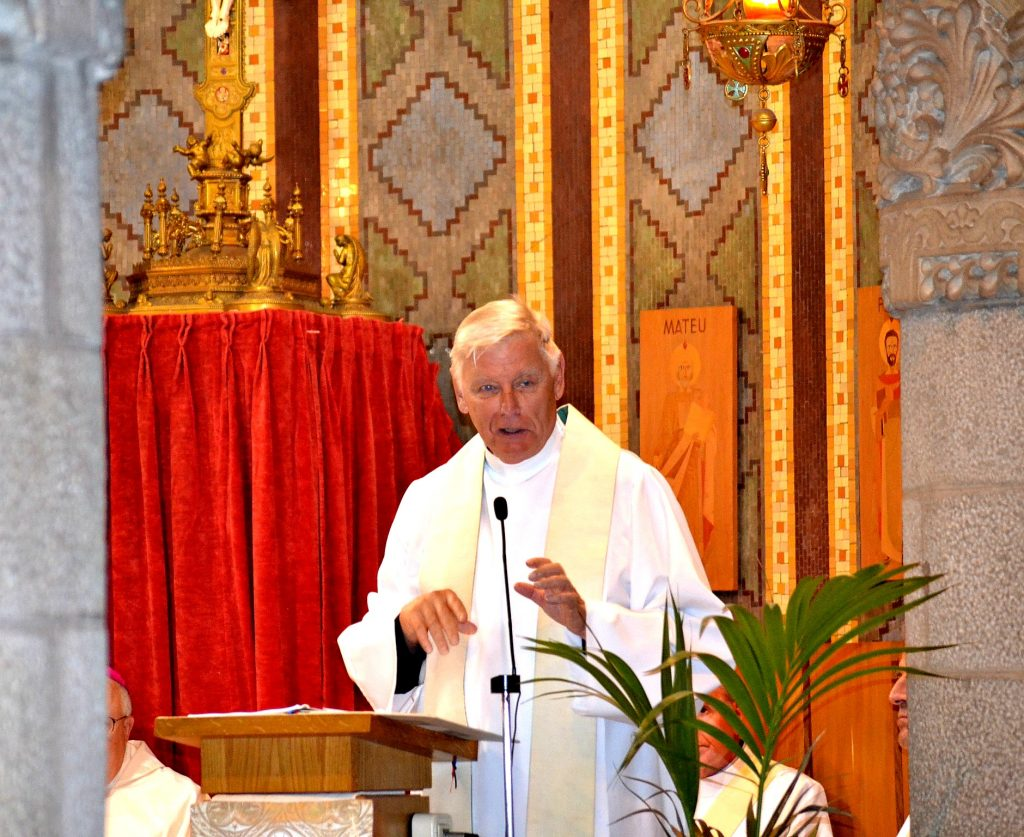 Father David Brinkmoeller during his hoimily at Sagrat Cor on Mount Tibidabo in Barcelona, Spain (CT Photo/Greg Hartman)