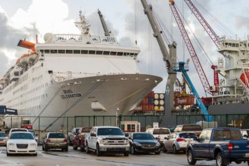The Grand Bahama cruise ship stands ready Sept. 12, 2019, at the port in Palm Beach, Fla., awaiting its second Bahamas humanitarian cruise. It was set to sail Sept. 14 to deliver supplies and first responders to the Bahamas, before returning to Florida with more Hurricane Dorian evacuees. (CNS photo/Tom Tracy)