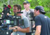yler Nilson (left), David Thies (center), and Michael Schwartz (right) on the set of The Peanut Butter Falcon.
