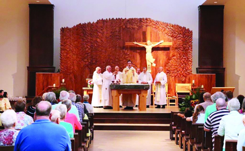 Happy Anniversary St. Columban! More than 450 parishioners attended a beautiful Mass on August 24 to celebrate 160 years. It was a beautiful night to celebrate their past, rejoice in the present and prepare for the future, including the burning of the mortgage from their recently paid-off debt.