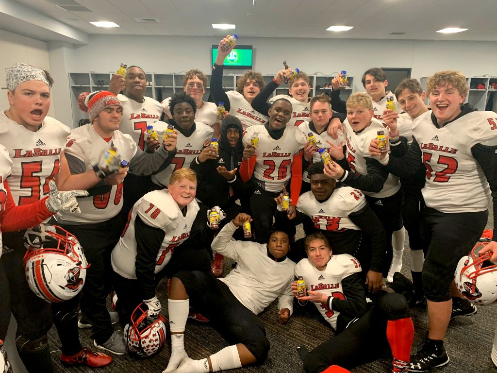 To the victor belongs the chocolate milk? Lancers celebrate in style their championship.