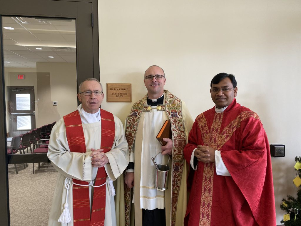St. Margaret of York Parish in Loveland held a special blessing for their new Father Jan Schmidt Conference room following the noon Mass on Nov. 22. Father Bedel, the current pastor, led the blessing with Father Jan Schmidt as the guest of honor.