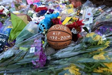 Basketballs are seen outside Bryant Gymnasium at Lower Merion High School, where Kobe Bryant, after his death, on Jan. 27, 2020 Credit: JOHANNES EISELE/AFP via Getty Images